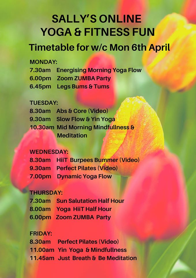Online Timetable for week commencing 6th April
