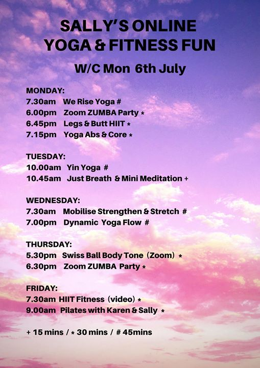 Online Timetable for week commencing 11th May