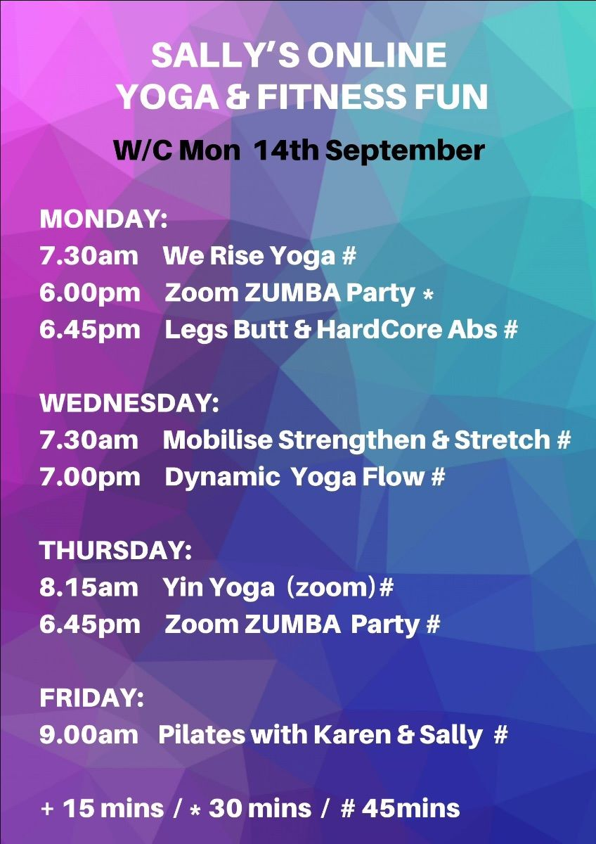 Online Timetable for week commencing 31st August
